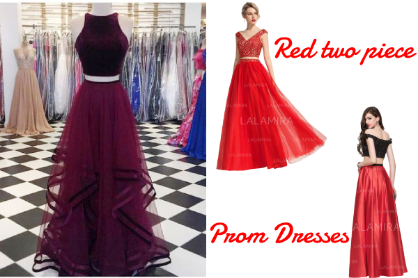 Red two piece prom dresses